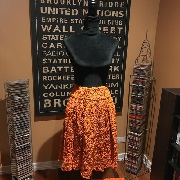 Moulinette Soeurs Dresses & Skirts - Orange embroidered looking skirt.